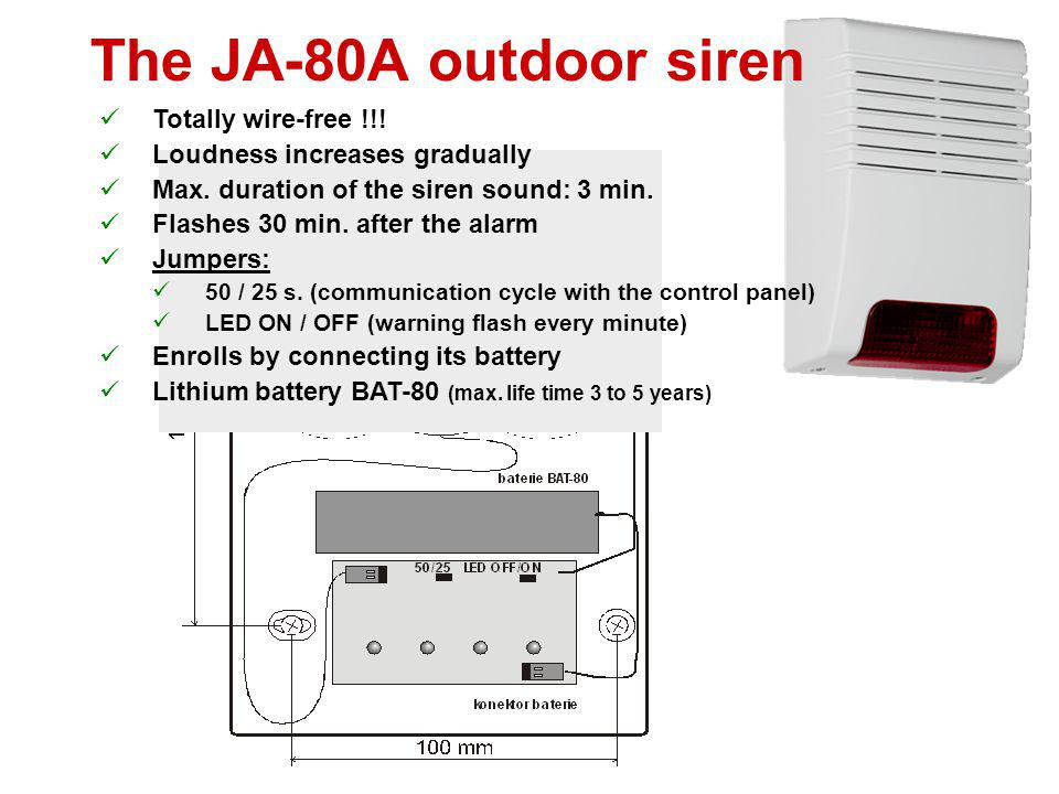 The JA-80A outdoor siren Totally wire-free !!!