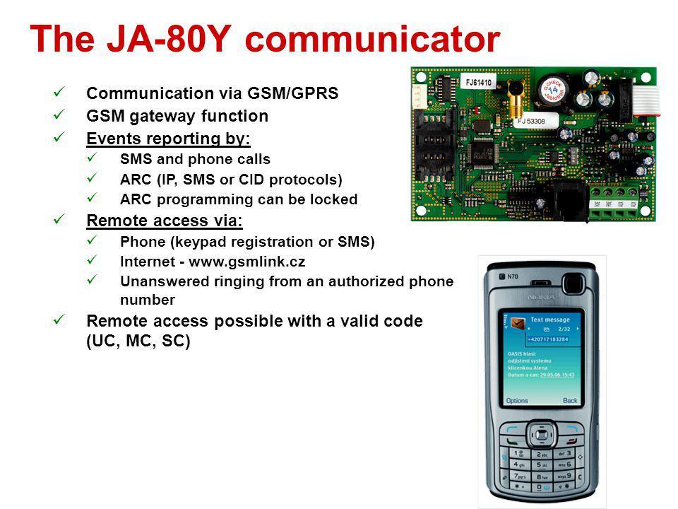 The JA-80Y communicator Communication via GSM/GPRS