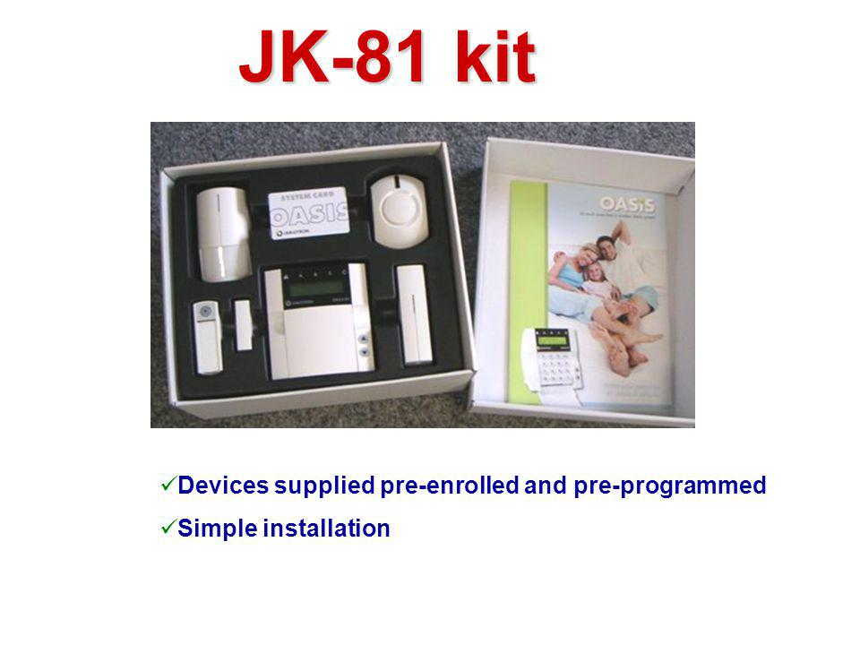 JK-81 kit Devices supplied pre-enrolled and pre-programmed