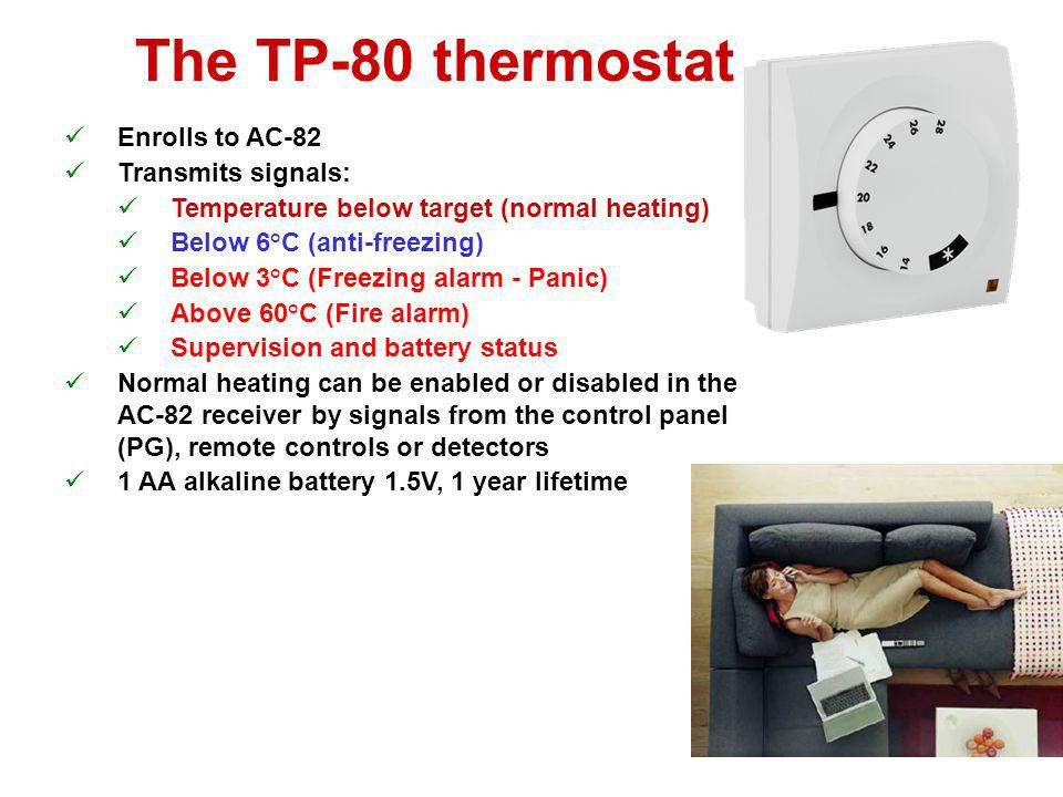 The TP-80 thermostat Enrolls to AC-82 Transmits signals: