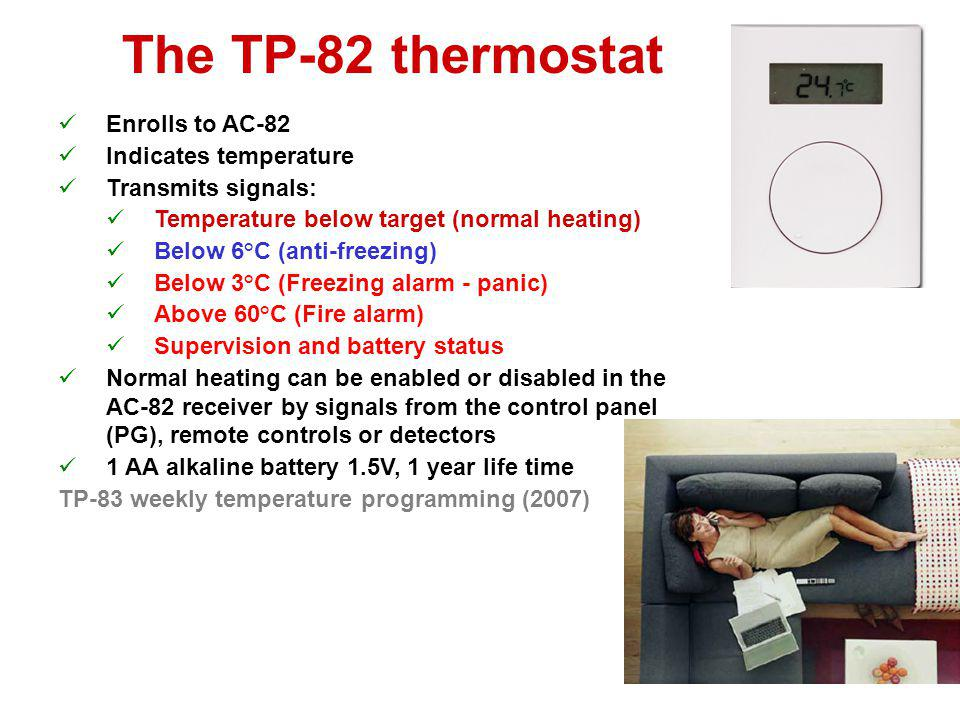 The TP-82 thermostat Enrolls to AC-82 Indicates temperature