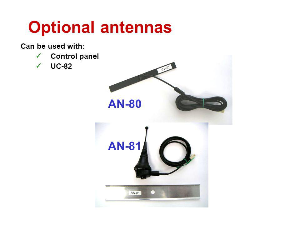 Optional antennas Can be used with: Control panel UC-82 AN-80 AN-81