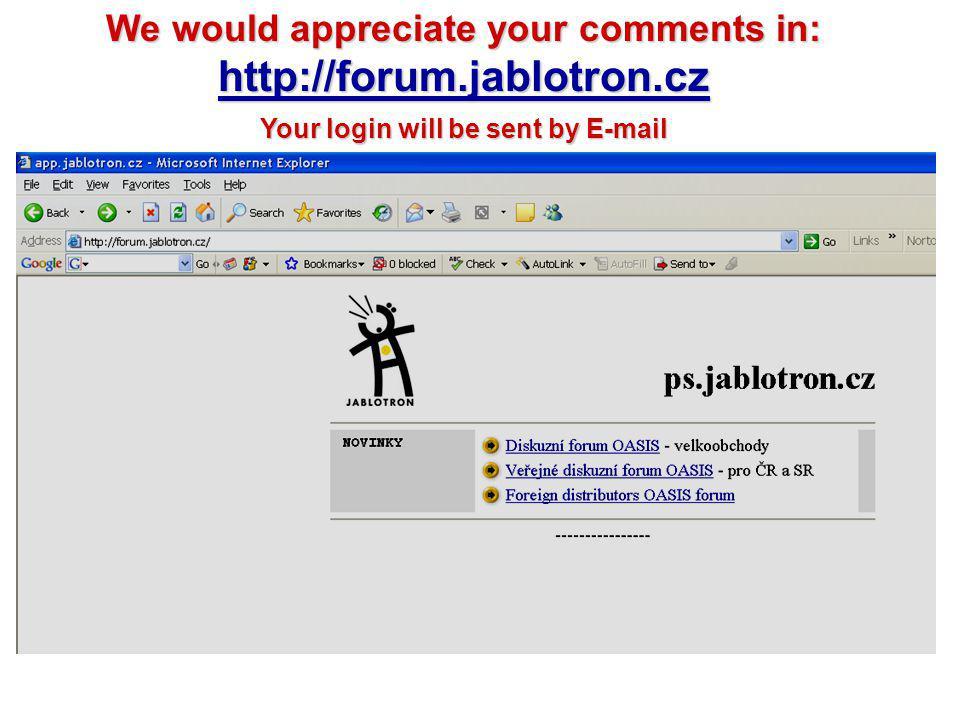 http://forum.jablotron.cz We would appreciate your comments in: