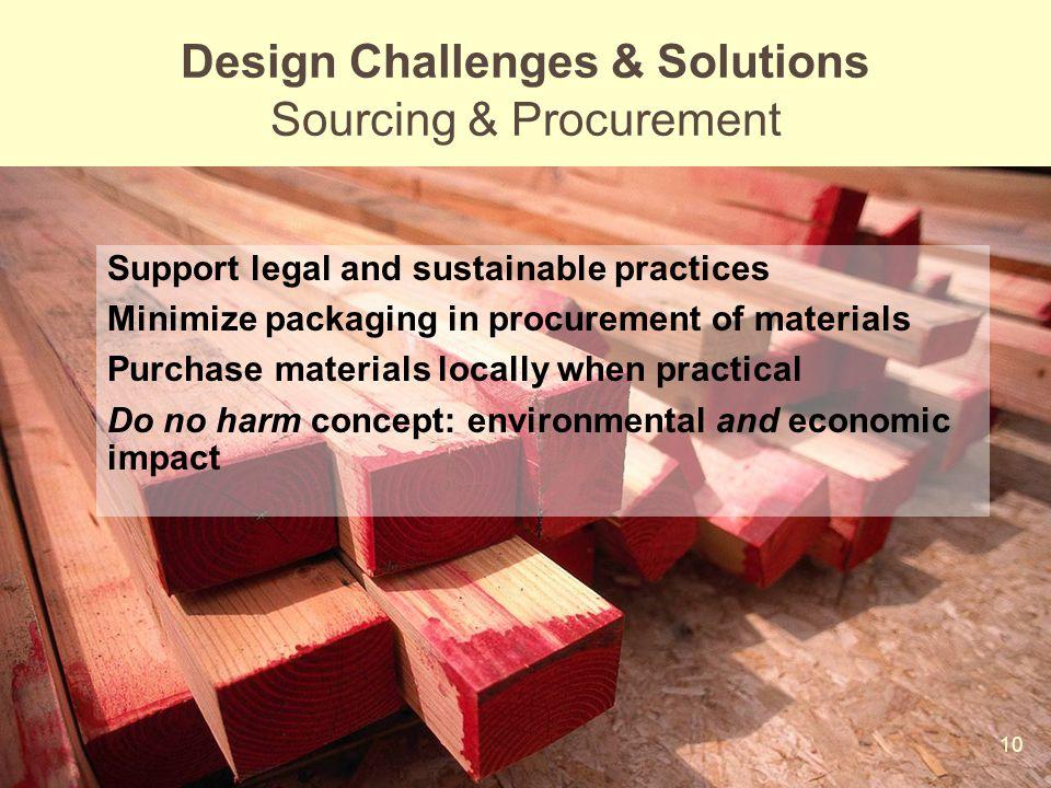 Design Challenges & Solutions Sourcing & Procurement
