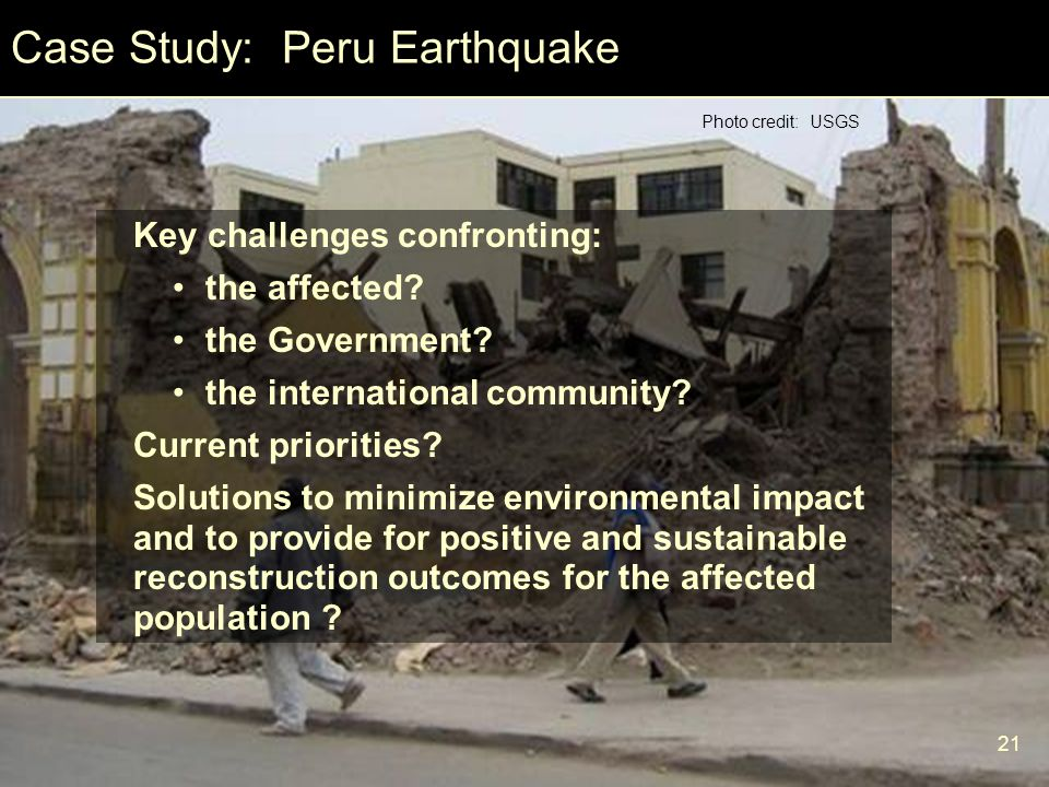 Case Study: Peru Earthquake