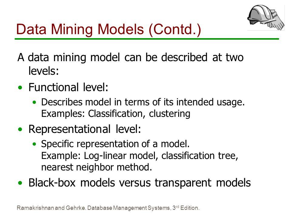 Data Mining Models (Contd.)
