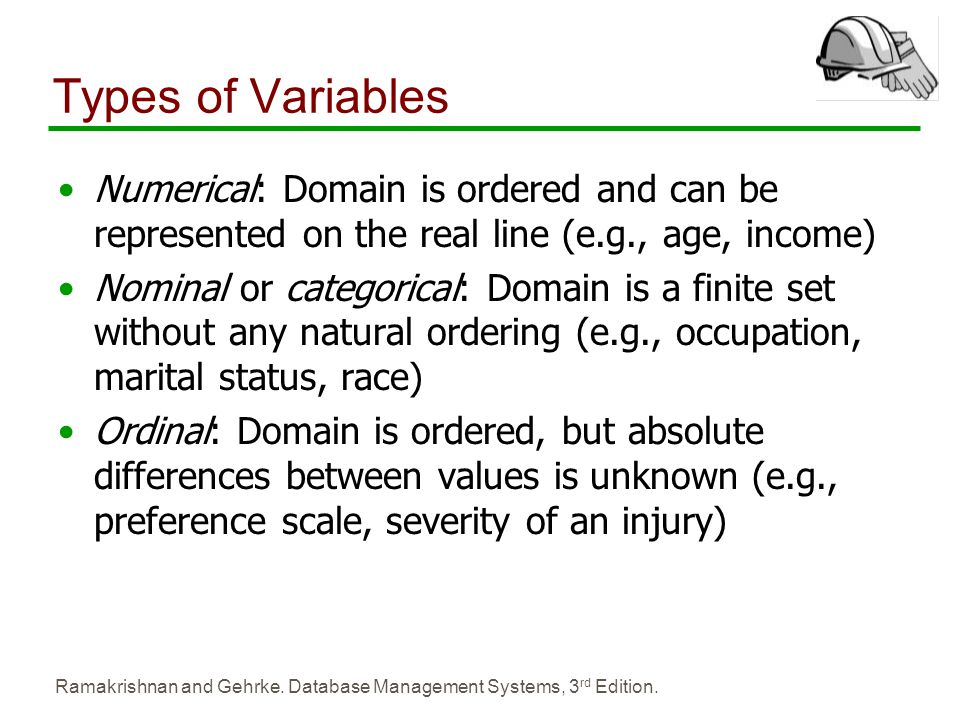 Types of Variables Numerical: Domain is ordered and can be represented on the real line (e.g., age, income)