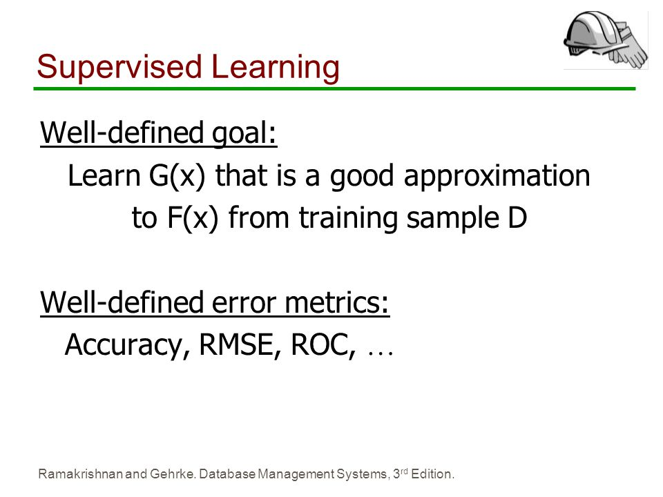 Supervised Learning Well-defined goal: