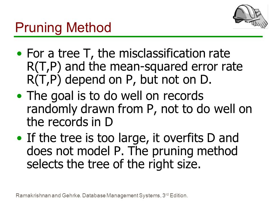 Pruning Method For a tree T, the misclassification rate R(T,P) and the mean-squared error rate R(T,P) depend on P, but not on D.