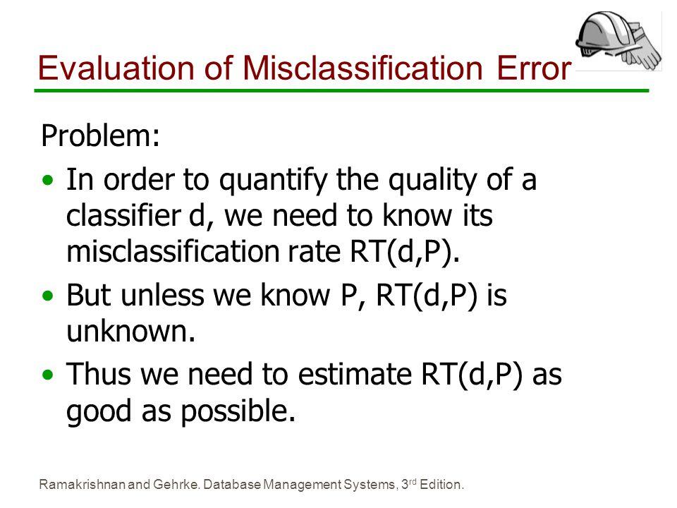 Evaluation of Misclassification Error