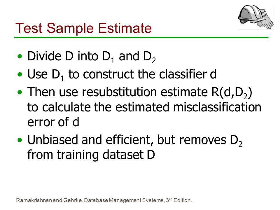 Test Sample Estimate Divide D into D1 and D2