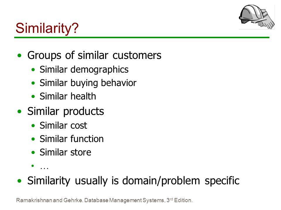 Similarity Groups of similar customers Similar products