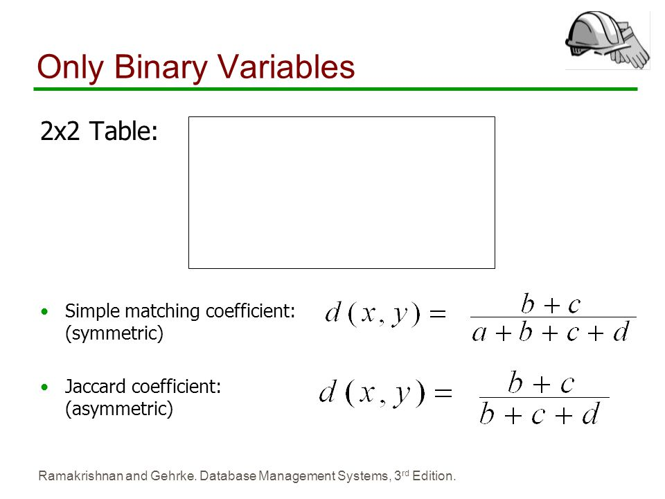 Only Binary Variables 2x2 Table: