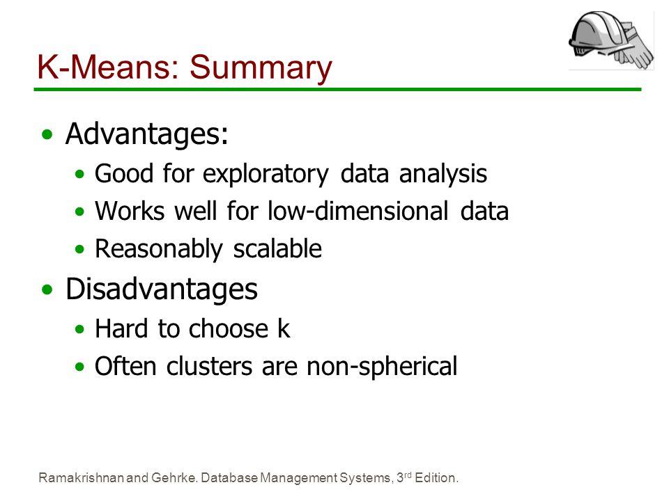 K-Means: Summary Advantages: Disadvantages