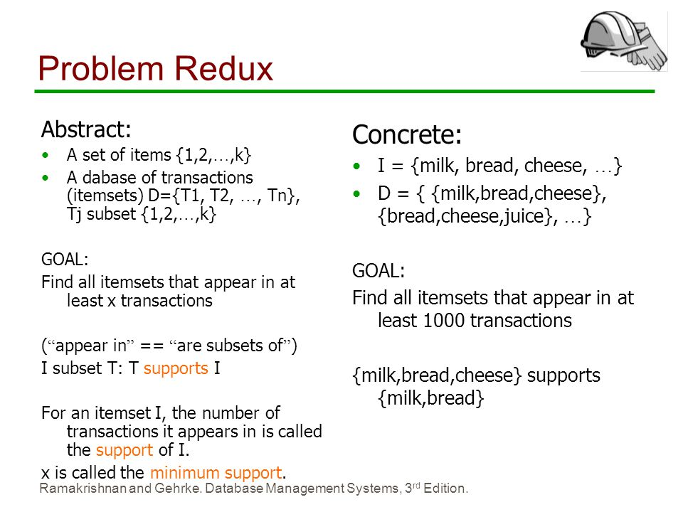 Problem Redux Concrete: Abstract: I = {milk, bread, cheese, …}