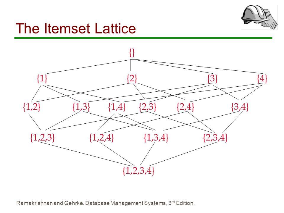 The Itemset Lattice {} {1} {2} {3} {4} {1,2} {1,3} {1,4} {2,3} {2,4}