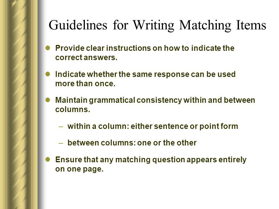 Guidelines for Writing Matching Items