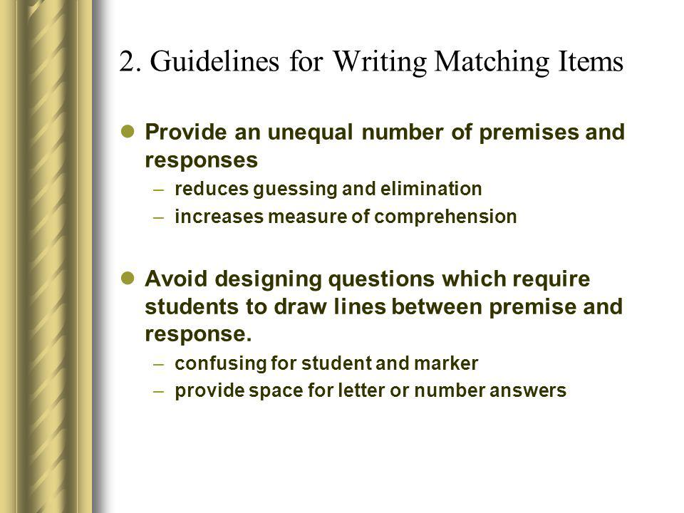 2. Guidelines for Writing Matching Items