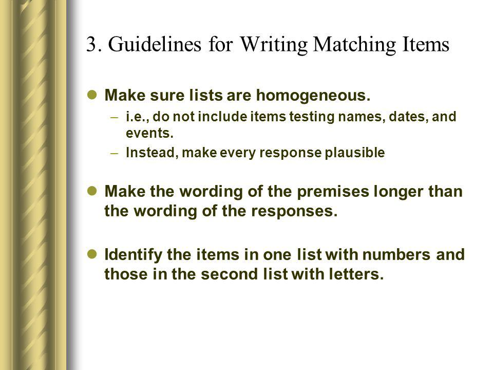 3. Guidelines for Writing Matching Items