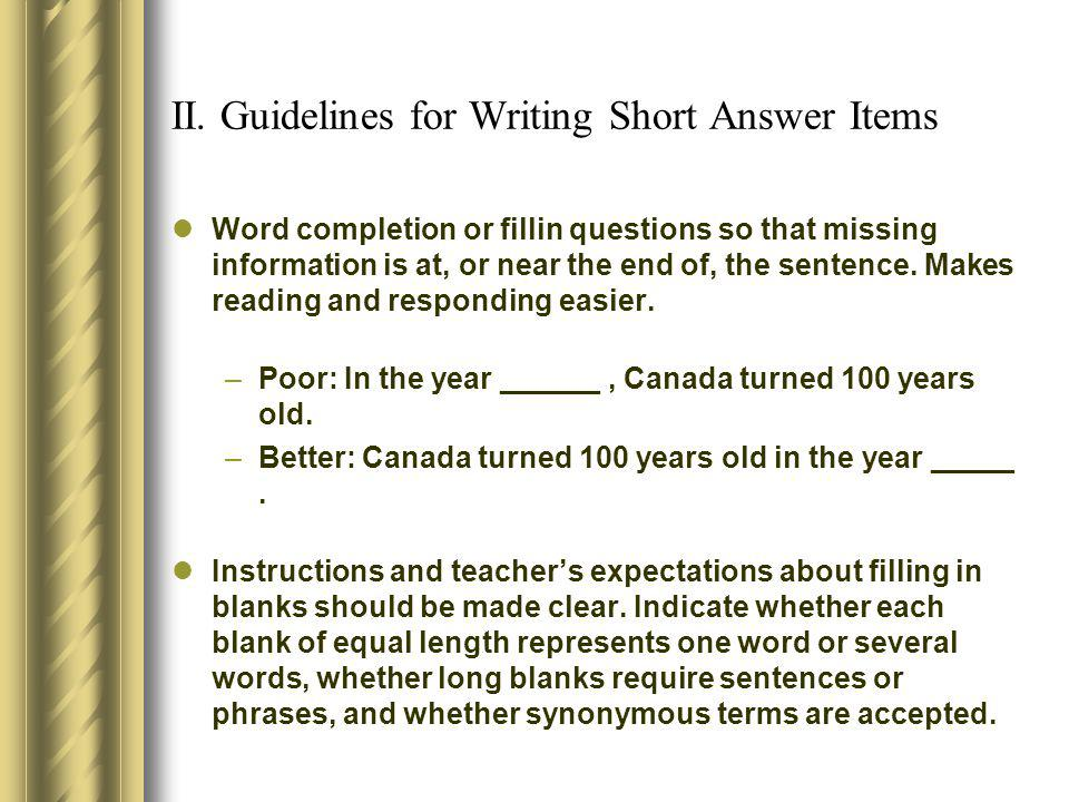 II. Guidelines for Writing Short Answer Items