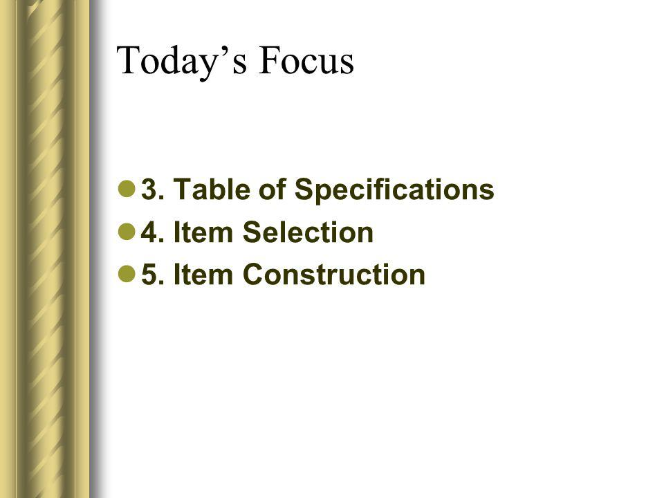 Today's Focus 3. Table of Specifications 4. Item Selection
