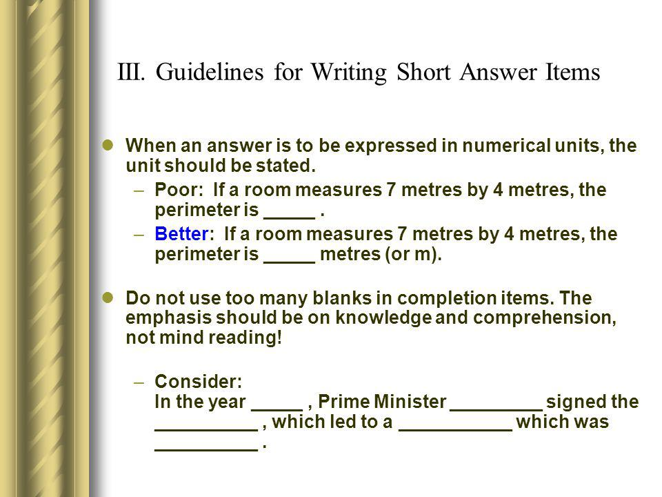 III. Guidelines for Writing Short Answer Items