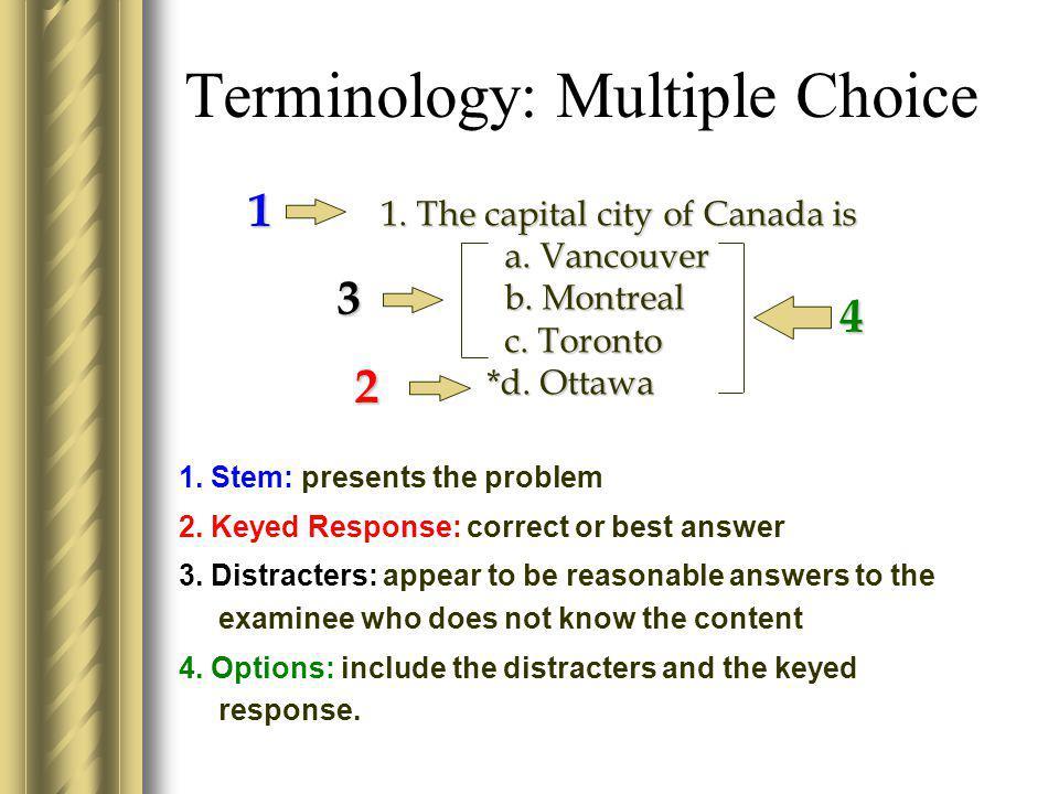 Terminology: Multiple Choice