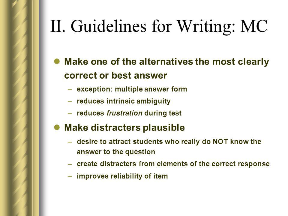 II. Guidelines for Writing: MC
