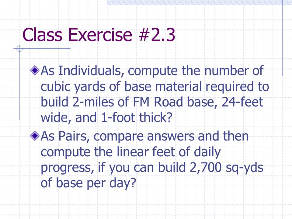 Class Exercise #2.3