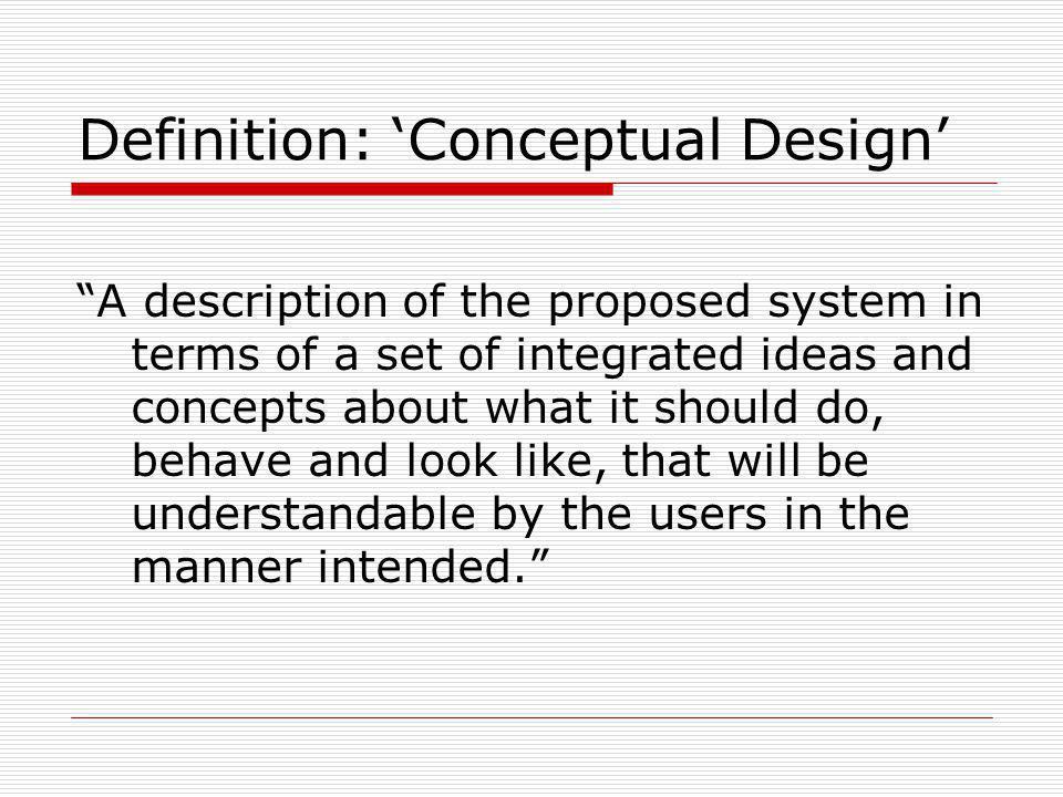 Definition: 'Conceptual Design'
