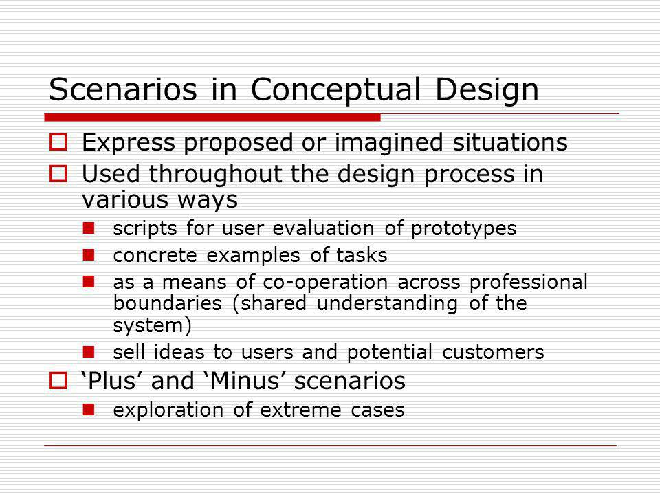 Scenarios in Conceptual Design