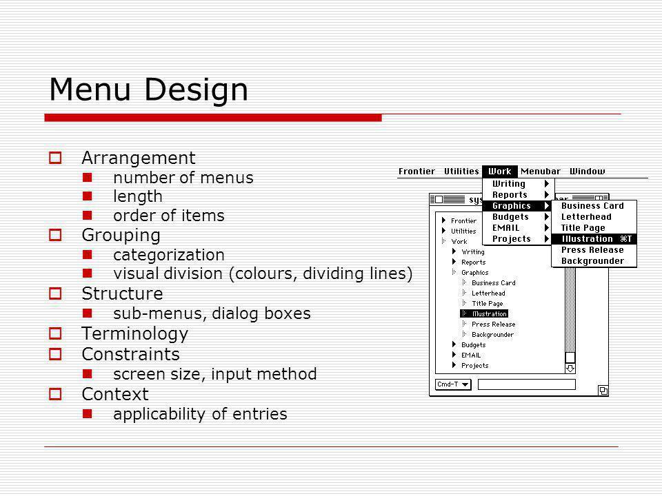 Menu Design Arrangement Grouping Structure Terminology Constraints
