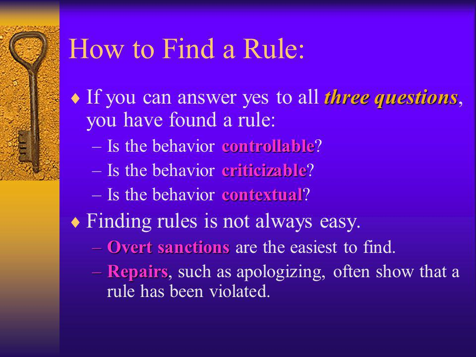 How to Find a Rule: If you can answer yes to all three questions, you have found a rule: Is the behavior controllable