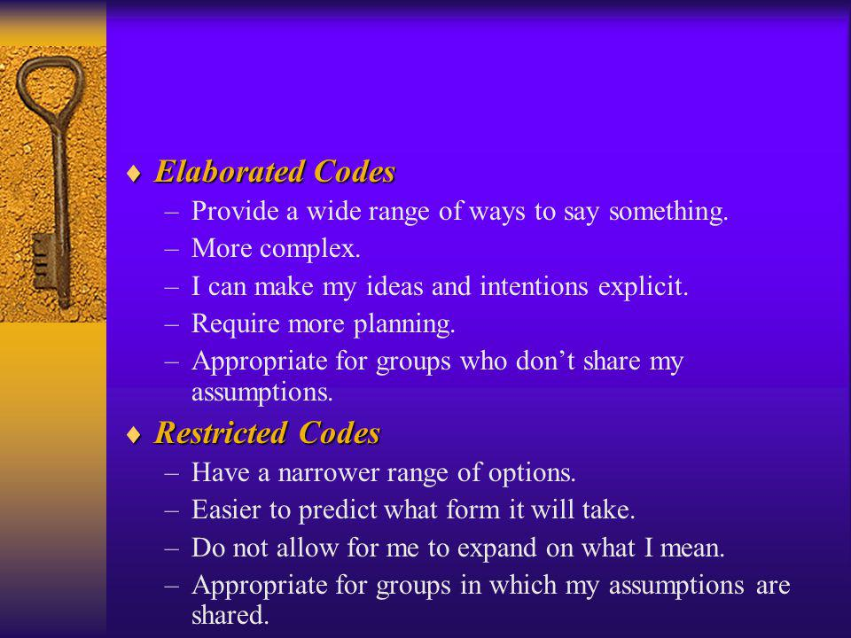 Elaborated Codes Restricted Codes