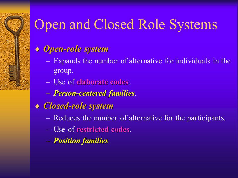 Open and Closed Role Systems