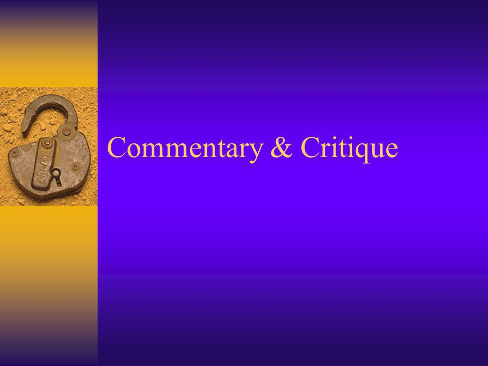 Commentary & Critique