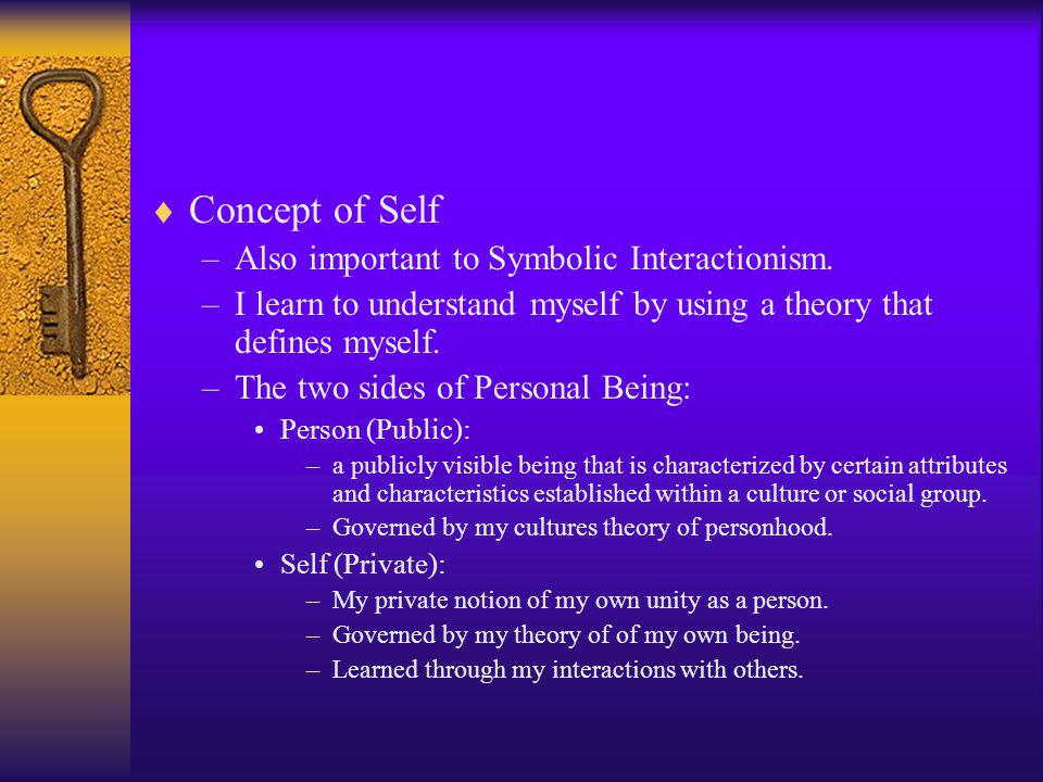Concept of Self Also important to Symbolic Interactionism.