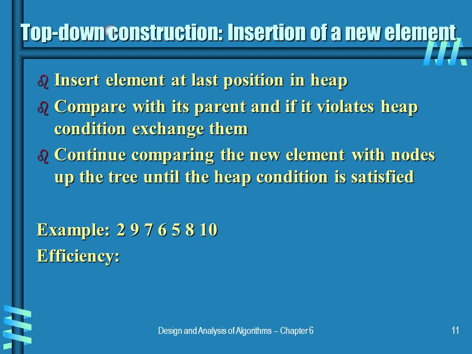 Top-down construction: Insertion of a new element