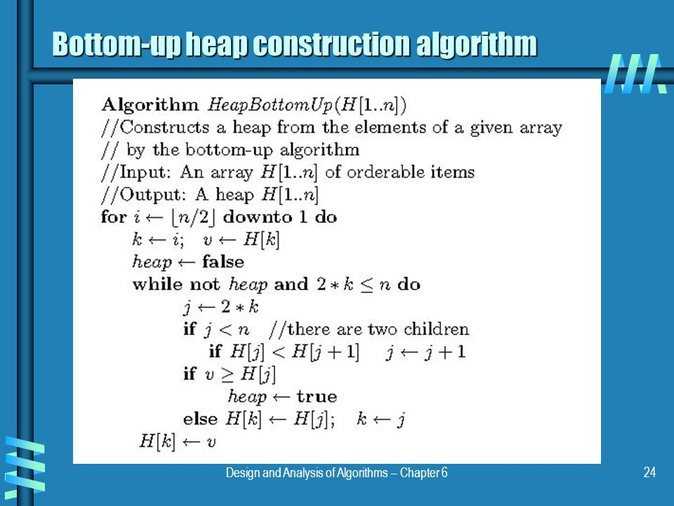 Bottom-up heap construction algorithm