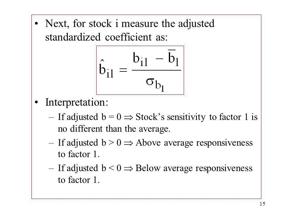 Next, for stock i measure the adjusted standardized coefficient as: