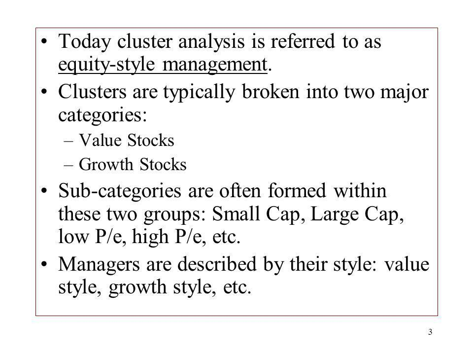 Today cluster analysis is referred to as equity-style management.