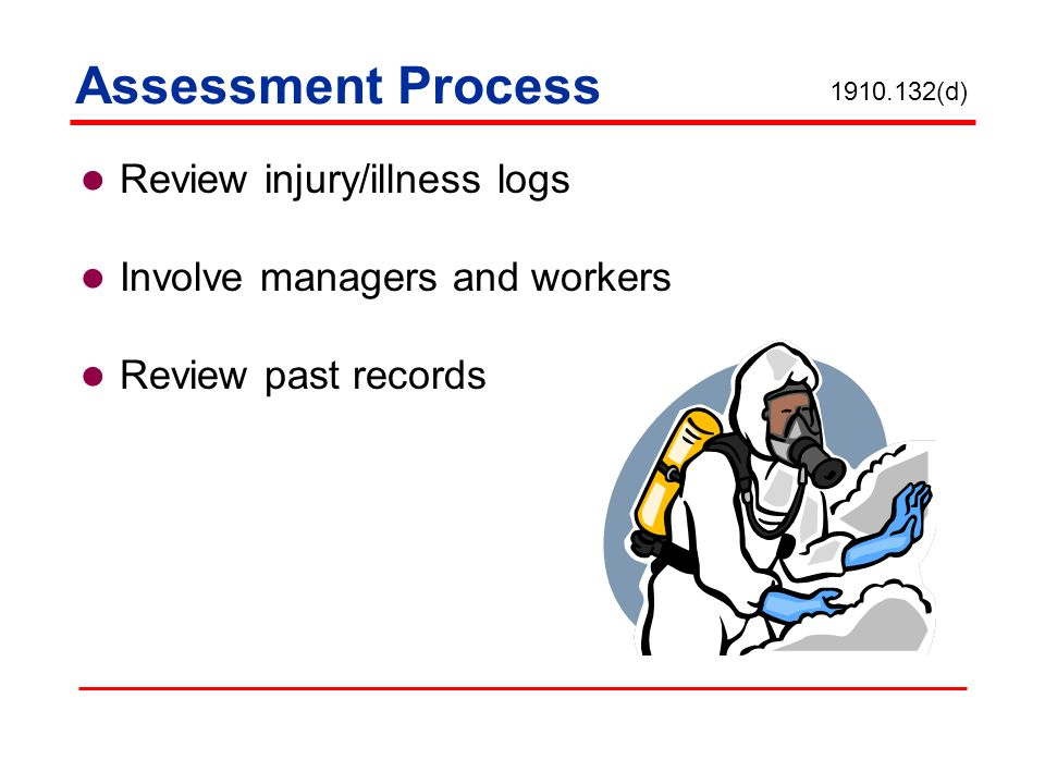 Assessment Process Review injury/illness logs