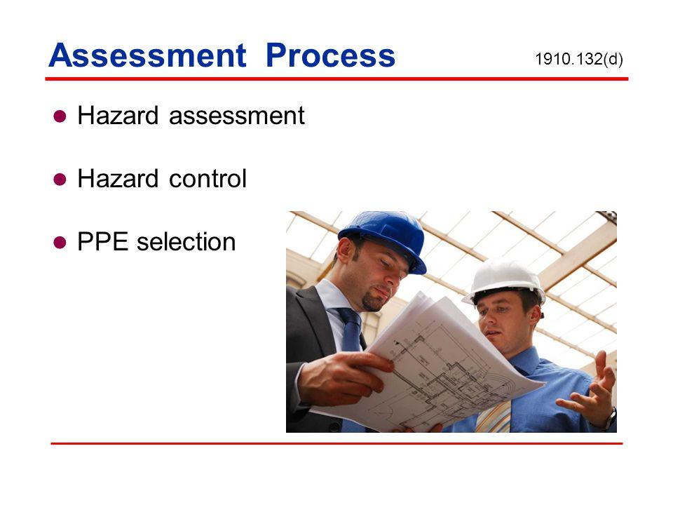 Assessment Process Hazard assessment Hazard control PPE selection