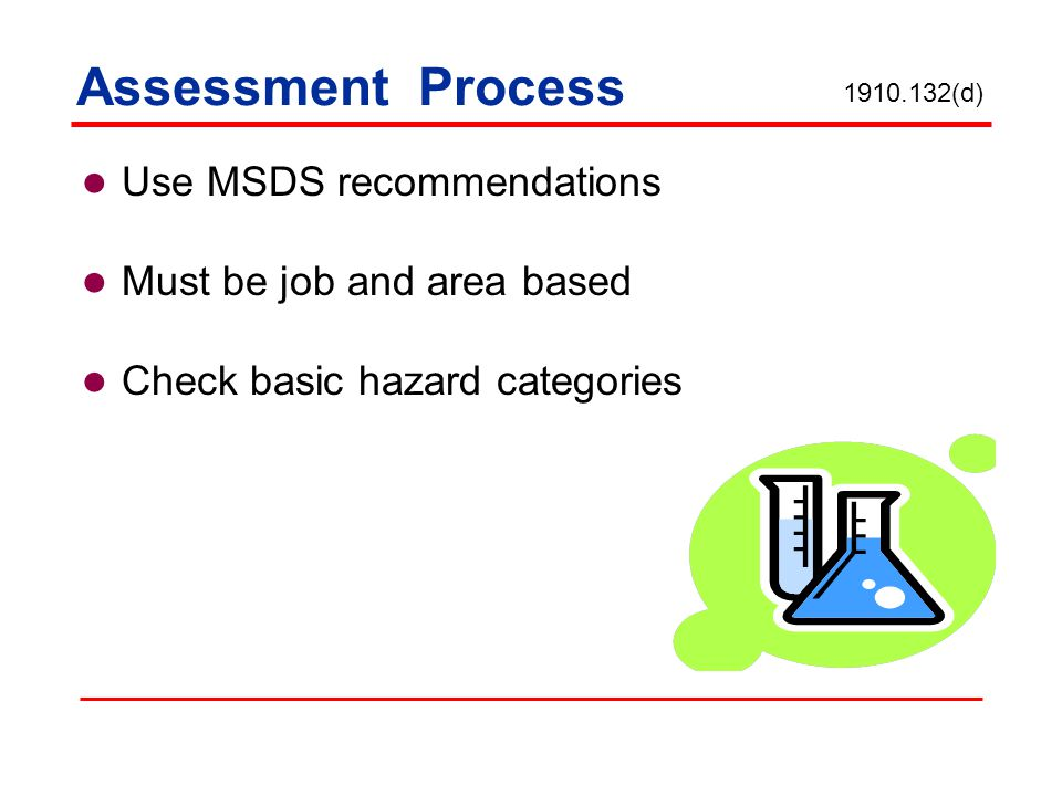 Assessment Process Use MSDS recommendations Must be job and area based