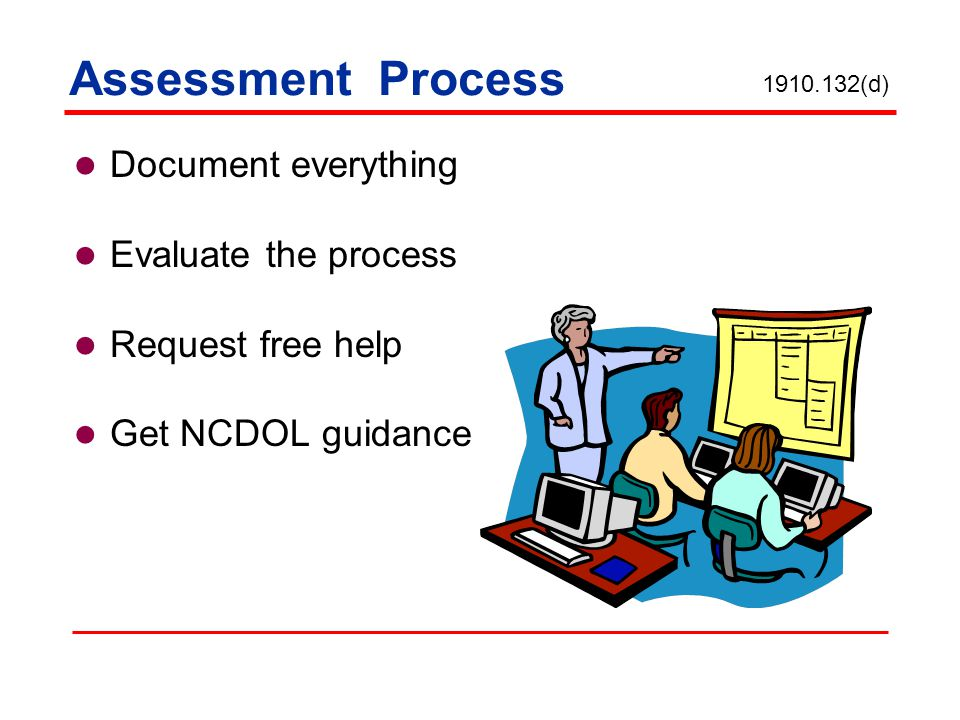 Assessment Process Document everything Evaluate the process