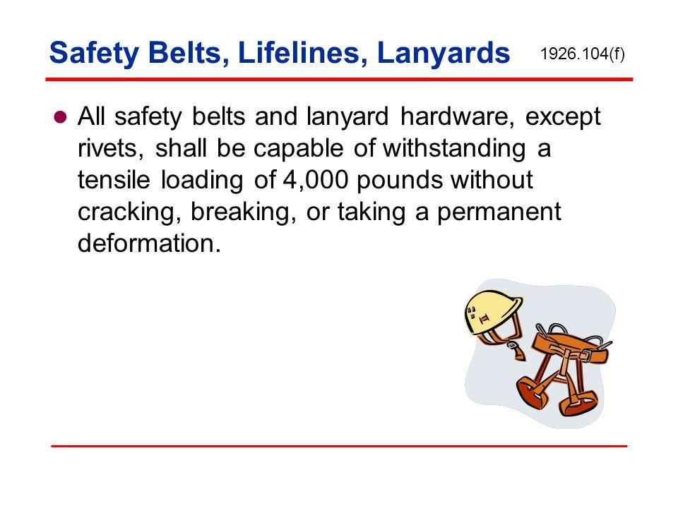 Safety Belts, Lifelines, Lanyards