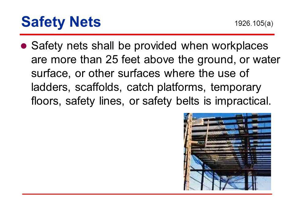 Safety Nets 1926.105(a)