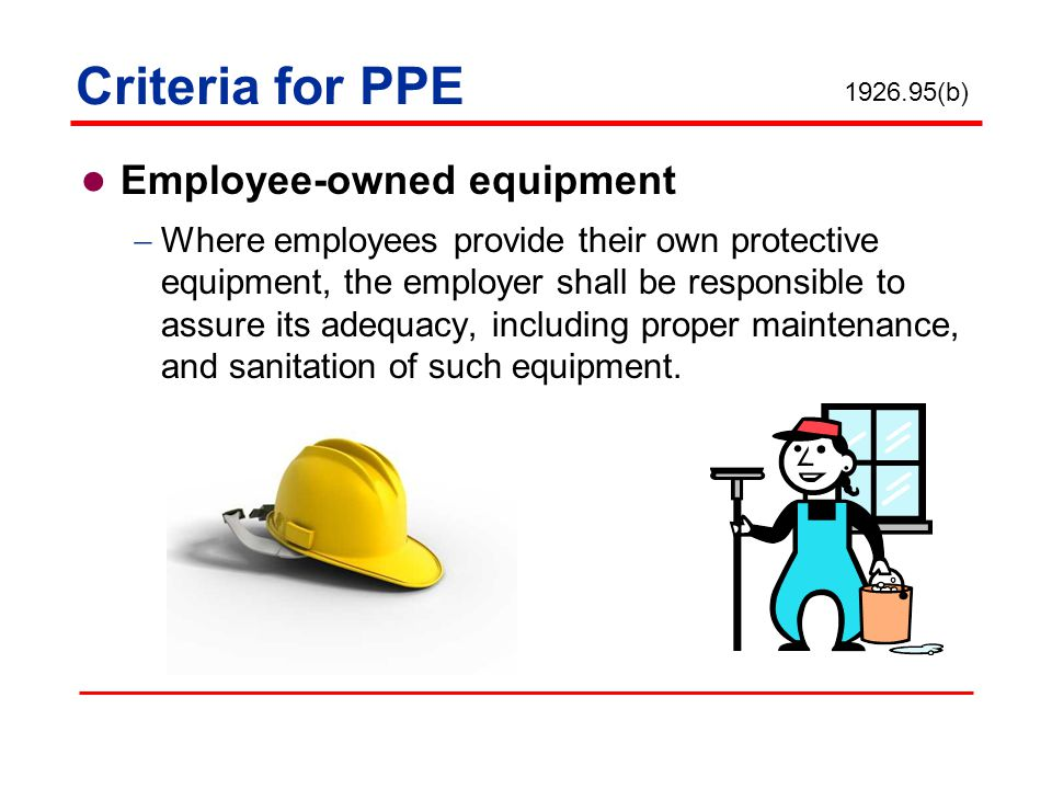 Criteria for PPE Employee-owned equipment