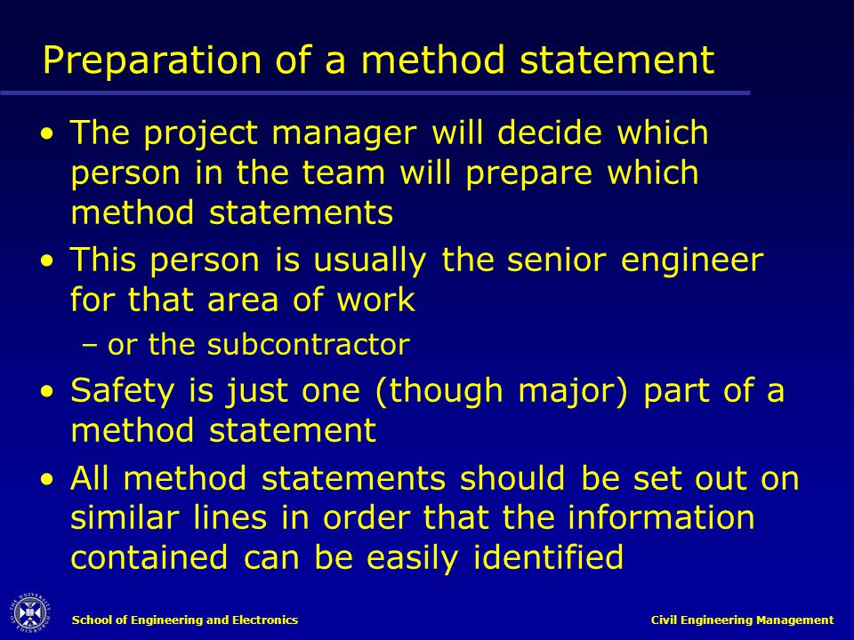 Preparation of a method statement
