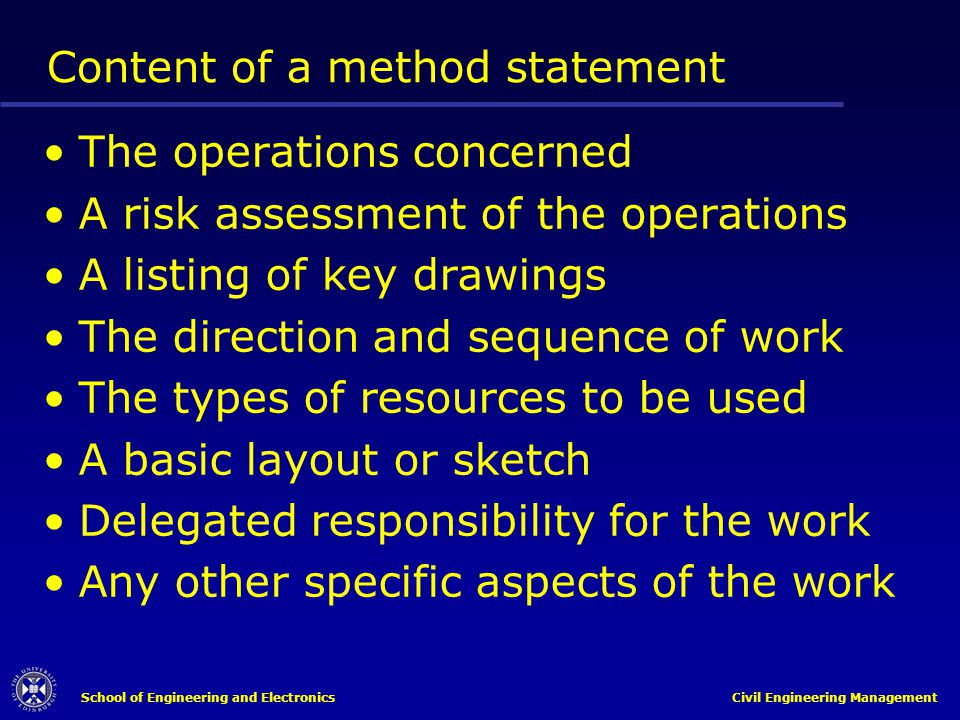 Content of a method statement